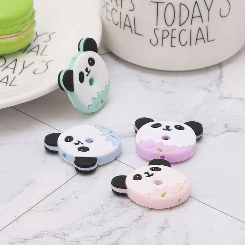 BPA gratis cuentas de silicona Panda de dibujos animados DIY COLLAR COLGANTE pulsera bebé mordedor cuidado de la dentición suministros bucales morder masticar Juguetes