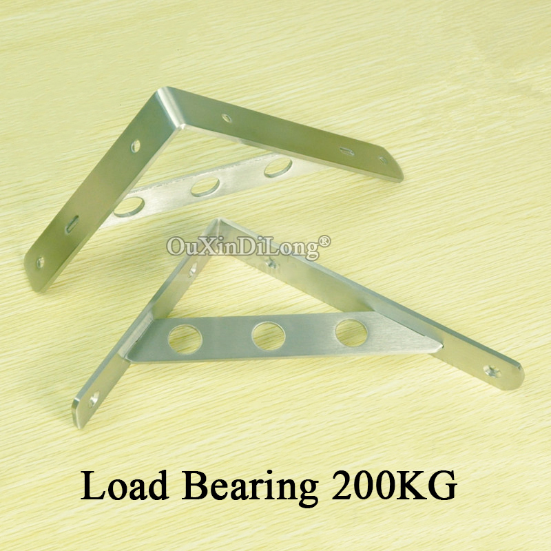 High Quality 2PCS Thicker Stainless Steel Shelf Brackets Wall Mount Triangle Right Angle Support Brackets Load Bearing 200KG ned 10pcs 20x20mm practical stainless steel corner brackets joint fastening right angle thickened brackets for furniture home