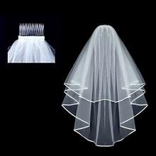 New Arrival Satin Ribbon Edge Tulle Short Bridal Wedding Veils One Layer Wedding Veils