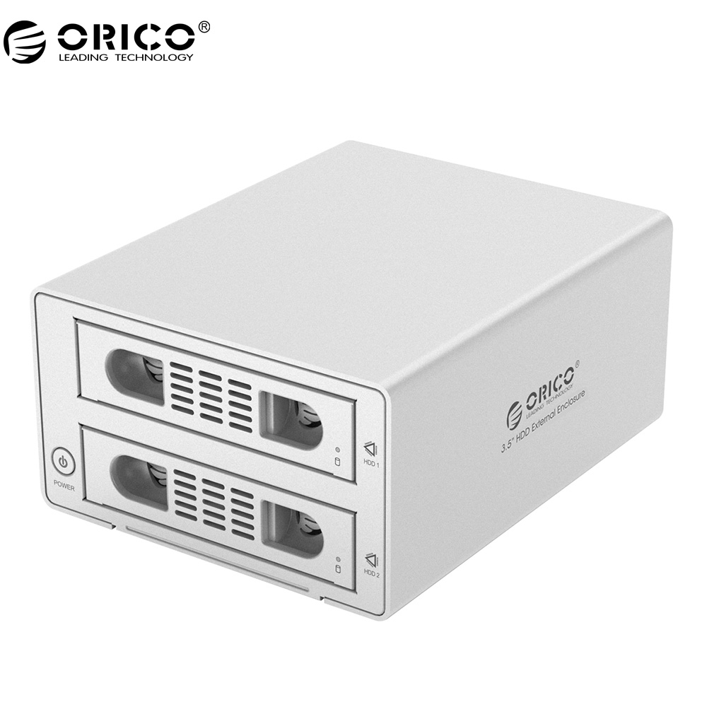 ORICO 3529RUS3 Aluminum 2 Bay USB3.0/eSATA External 3.5'' RAID SATA Hard Drive Enclosure- Silver e sata esata e sata male to male m m extension data sync cable line for external portable hard drive hdd 50cm