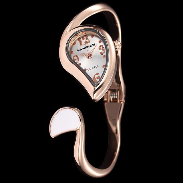 Rose Gold Cuff Bangle Watch Women Clock Elegant Dress Leaf Designer Top Brand Lady Watches Reloje Mujer Montre Bracelet Femme
