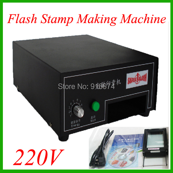 220V Photosensitive Portrait Flash Stamp Machine Kit Selfinking Stamping Making Seal System new 220v photosensitive portrait flash stamp machine kit self inking stamping making seal holder film pad no ink