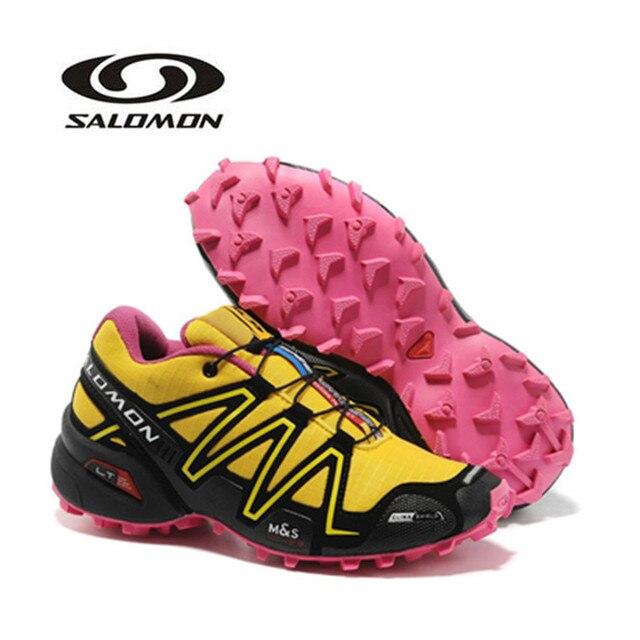sale retailer 526ac 00129 2018 Salomon Speed Cross 3 CS Anti-Slip Sneaker Comfortable Pink Jogging  Shoes Women Red Yellow Running Shoes eur 36-41