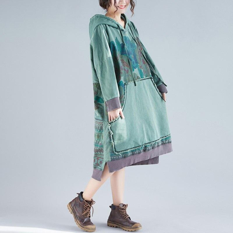 Autunno Grande Casual Del Inverno Abiti Stampa Baggy Cotone Moda 2019 Pullover Coreana 2 Con Vestito Cappuccio Formato Donne Di 1 Per Le ArAwq0g