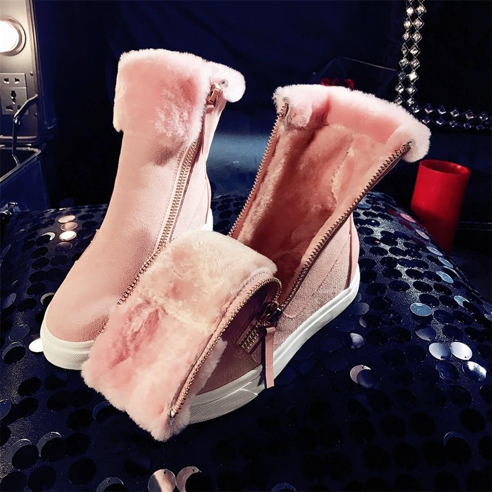 Black Warme 2019 Weibliche Schnee Wolle Kuh Flache Frau Pelz Winter Stiefeletten Mischung Wildleder Schuhe Frauen pink Stiefel Neue Lammfell wcTxRpIxq