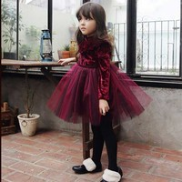 Sweet Princess Baby Girls Tutu Fleece Velvet Christmas Party Dress Vintage Rend Champaign Color Autumn Winter