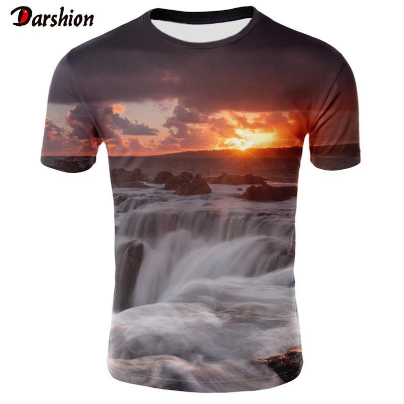 2019 New Men 3D   T  -  shirt   Casual Short Sleeve O-Neck Fashion Nature Printed 3D   t     shirt   Men Tees High Quality Brand tshirt hombre