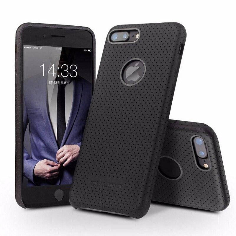 imágenes para QIALINO Teléfono Caso para el iphone 7 de Moda de Cuero Ultra Delgado Genuino cubierta para el iphone 7 más Nuevo de Lujo de Vuelta para 4.7/5.5 pulgadas