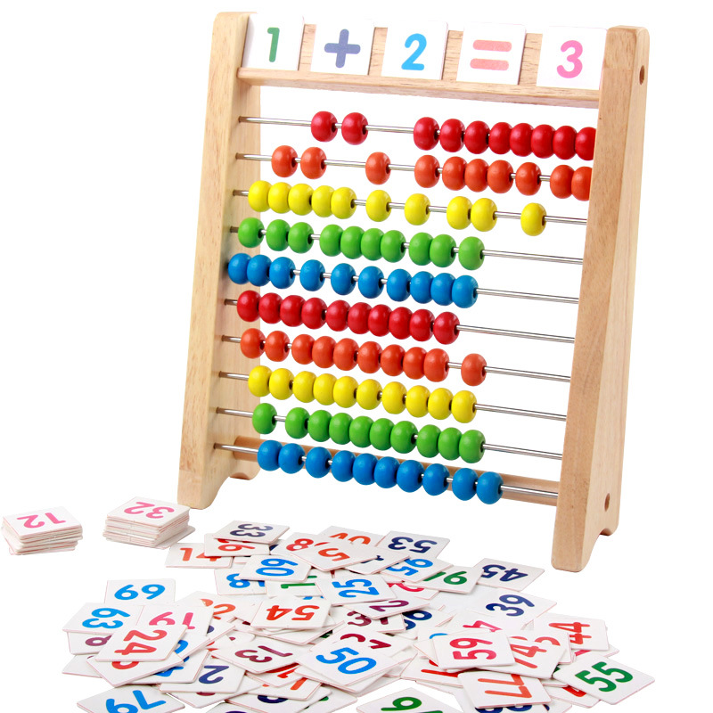 kids educational toy wooden abacus with learning cards ...