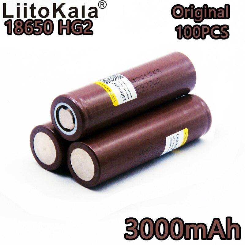 100 nouveau HG2 LiitoKala 18650 18650 batterie 3000 mAh cigarette électronique rechargeable haute décharge d'énergie, 30A courant élevé