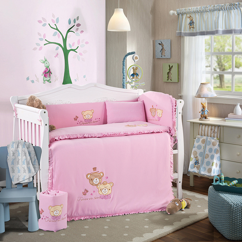 купить 10pcs/Set Baby Bedding Set for Crib Newborn Baby Bed Linens For Girl Boy Cartoon Cot Bumpers Sheet Quilt недорого