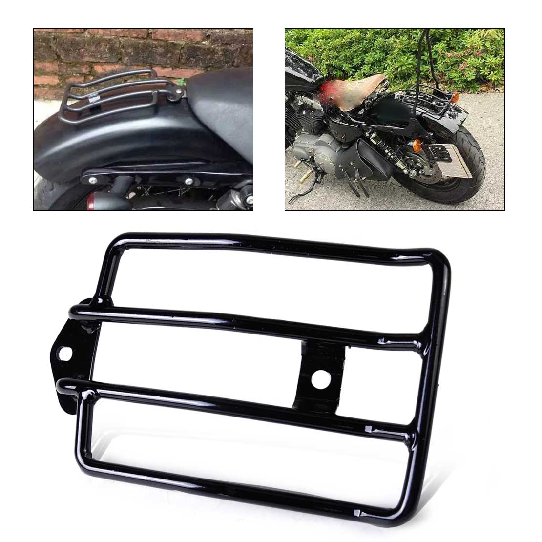 beler New 1Pc Motorcycle Black Seat Luggage Shelf Carrier Support Rack Fit for Harley Davidson Sportster 1200 Sportster 883 motorcycle solo seat luggage rack suitable for harley davidson sportster xl883 1200 48