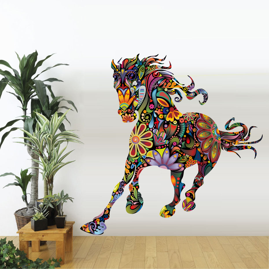 Abstract Design Wild Colorful Floral Horse Wall Stickers Flower Pattern Pentium Horse Living Room Bedroom Decals Home Decor