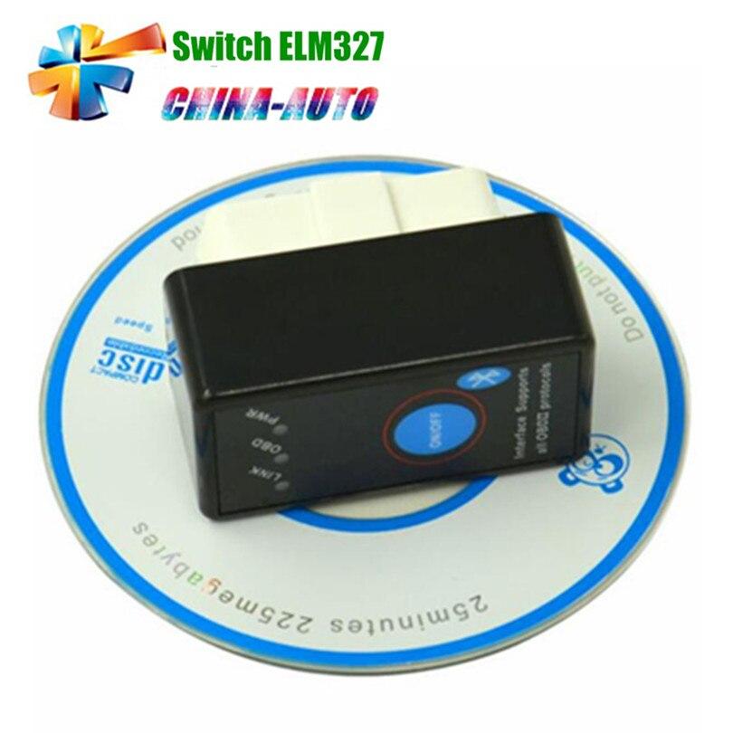 Prix pour 2016 Date V1.5 A + + qualité Super Mini ELM327 Bluetooth ELM 327 OBD II CAN-BUS De Diagnostic Scanner TooL Avec Interrupteur