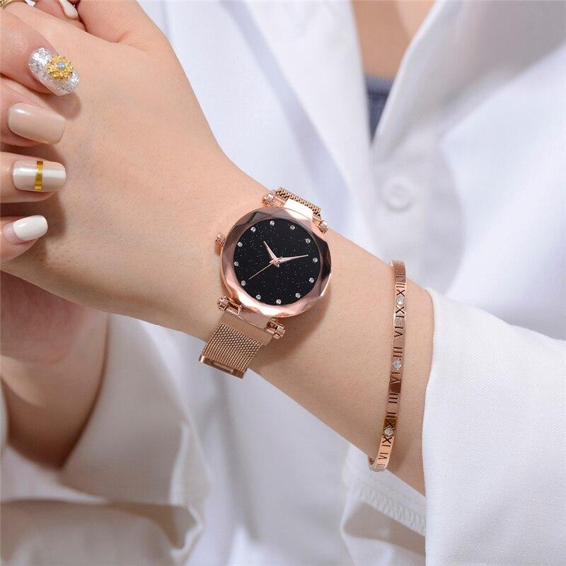 Luxury Ladies Clock Magnet Starry Sky Diamond Watch Fashion Women Watches Dress Female Quartz Wristwatches relogio feminino Gift in Women 39 s Watches from Watches