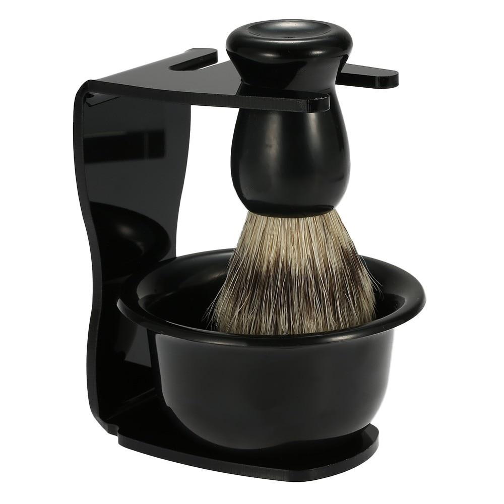 100% Brand New Superior Quality Shaving Brush + Safety Razor Holder Stand + Soap Bowl, Barber Shaving-Brush Frame Set Hu Soap Bo