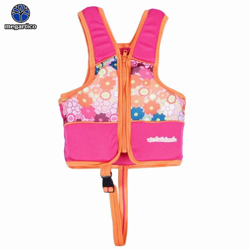 Megartico спасательный жилет для детей zwemvest для детей с цветочным принтом акулы спасательный жилет каяк бассейн пляжный плавательный детский спасательный жилет
