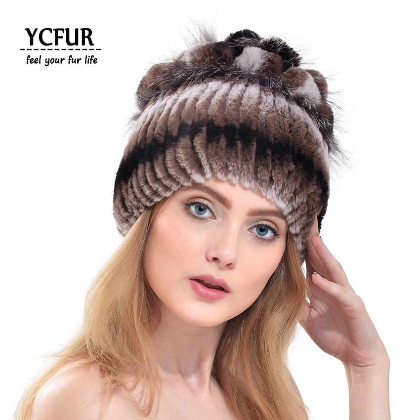 YCFUR Natural Fur Caps Women 6 Colors Strips Rex Rabbit Fur Hats With Silver Fox Fur Trims Warm Winter Beanies Hats Winter YH187