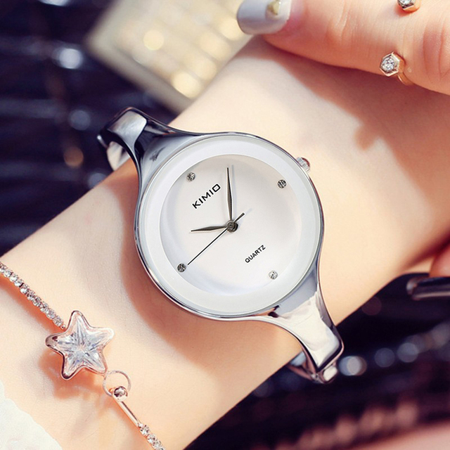 KIMIO Brand Women Classic White Bracelet Watches Stainless Steel Ladies Big Dial