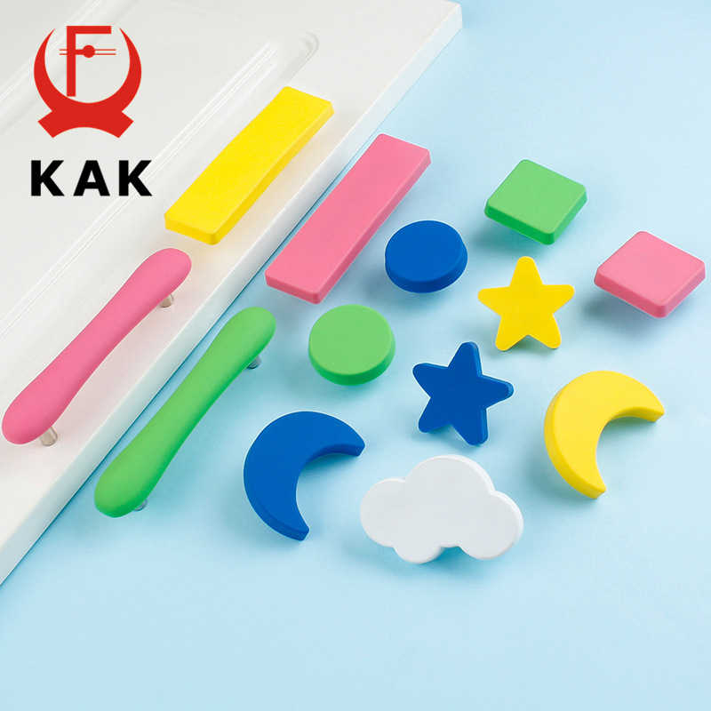KAK Children Kids Room Drawer Knobs and Handles Moon Star Cartoon Furniture Handle PVC Cloud Door Knobs Cabinet Pulls for kids