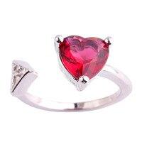 lingmei Wholesale Heart Cut Pink Tourmaline & White Topaz 925 Silver Ring Popular Jewelry For Women Size 6 7 8 9 10 11 Free Ship