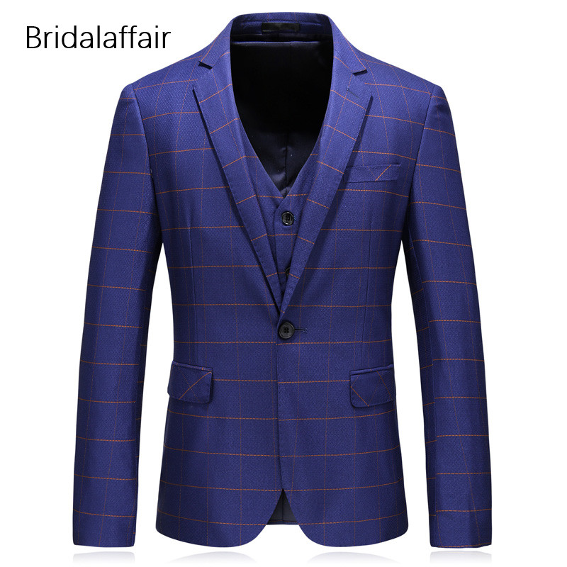 Mâle Groomsman Plaid Homme Bleu Gilet Pièces Costumes Formelle Pantalon Costume De Slim Pour Fit veste Hommes Mariage Merveilleux Marine Luxe 3 Smokings OxWqwFEnPf
