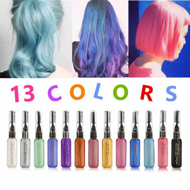 13 couleurs couleur de cheveux unique teinture pour cheveux temporaire Non toxique bricolage couleur de cheveux Mascara colorant crème bleu gris violet