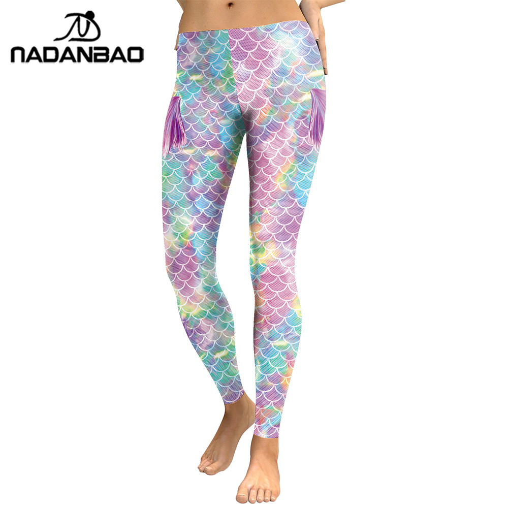 NADANBAO New Arrival Colorful Mermaid Women Leggings Fish Scales 3D Printed Leggins Working Out High Waist Elastic Pants