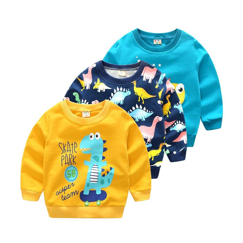 Boy Spring Autumn Sweatshirt Dinosaur Cartoon Children Cotton Clothing Pullover Top Kids Outwear
