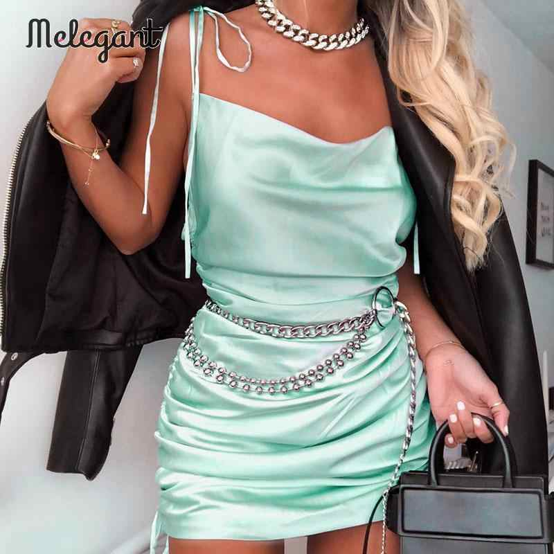 Melegant Spaghetti pasek błyszczące sukienka na imprezę kobiety stałe zielony kobiet sukienki Sexy Lace Up klub Mini sukienka Vestidos Plus rozmiar