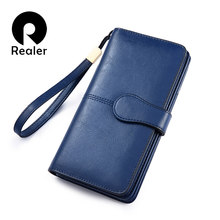 REALER women wallet Split leather long wallet with phone/coin/card pocket zippers for ladies Purses with short strap for female(China)
