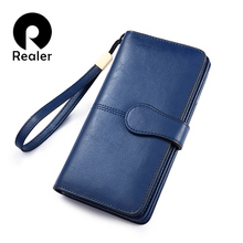 REALER women wallet Split leather long wallet with phone/coi