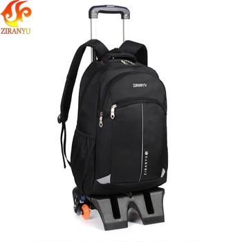 ZIRANYU High-capacity Student Shoulder Backpack Rolling Luggage Children Trolley Suitcases Wheel Cabin Travel Duffle School Bag Kids & Baby Bags