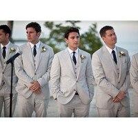 Grey Notch Lapel 2 Buttons Suits Fashion Best Man Wedding Groomsmen Tuxedos 3 Pieces Men Suits (Jacket+Pants+Vest)
