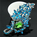 Silver Plated Blue Rhinestone Brooch Diamante Crystal Leaf Flower Brooch Pins With Green Drop Large 60x88mm Crystal Brooch