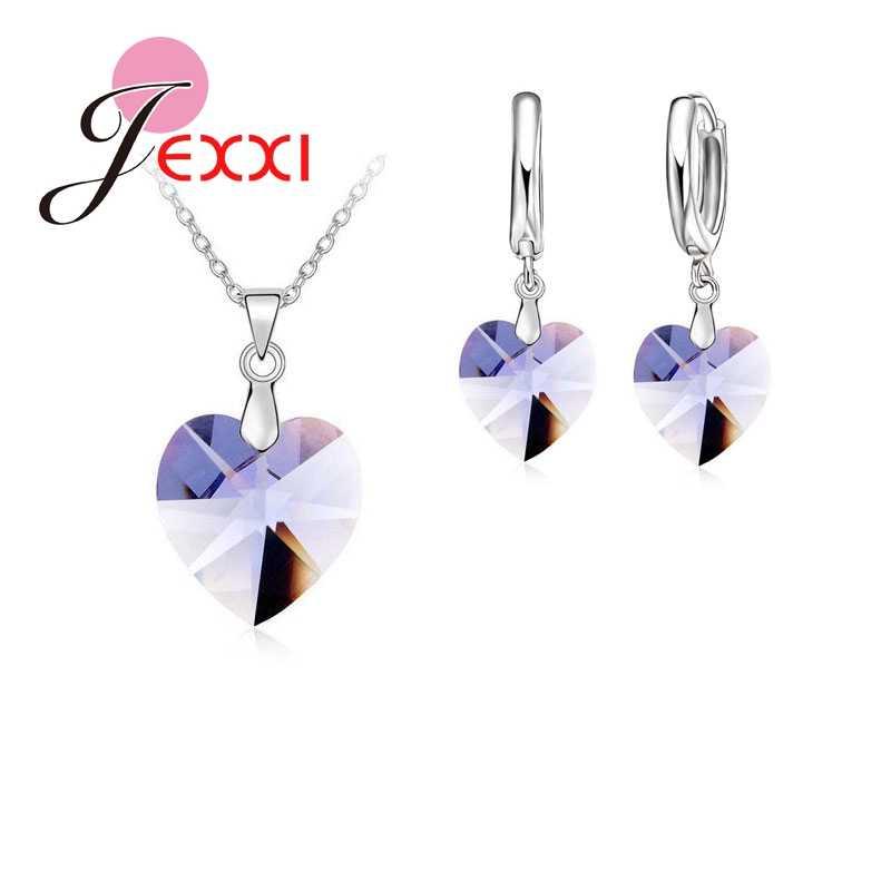 Glänzende Österreichischen Kristall 925 Sterling Silber Schmuck Herz Anhänger Halsketten Hebel Zurück Ohrringe Frau Zubehör Geschenk