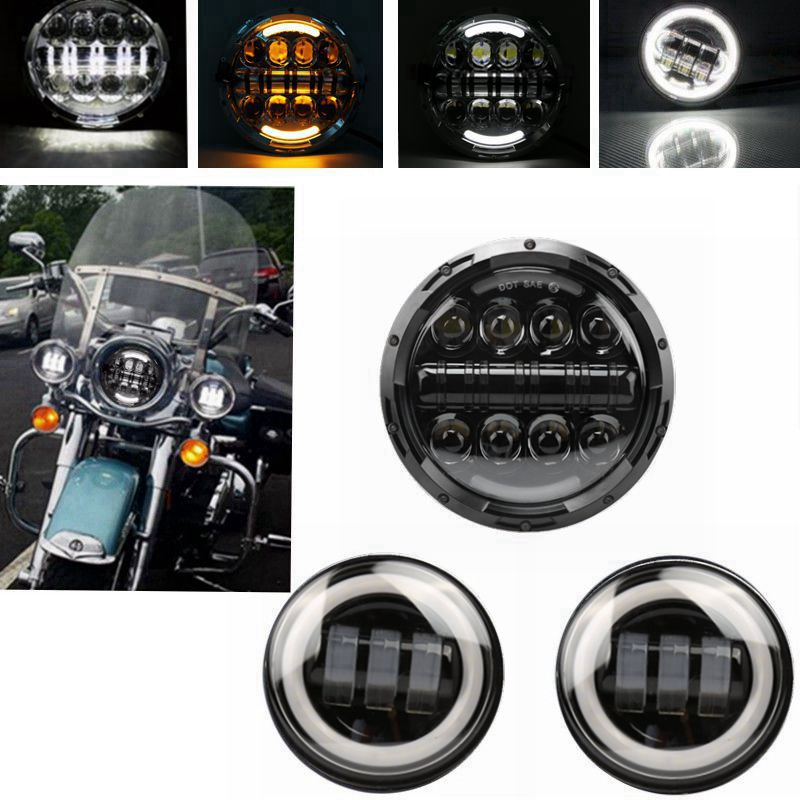 7 Inch LED Headlight+ 4.5 30w Fog Light Passing Lamps for Harley Davidson Motorcycle,Softail Heritage,StreetGlide motorcycle voltage regulator rectifier for harley davidson heritage softail 1450 classic flstc1450 2001 2006 model 74610 01