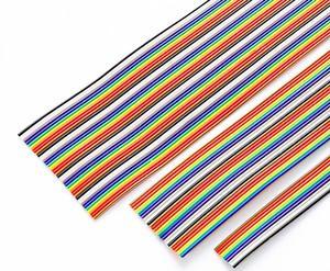 1 metro 6/8/10/14/16/20/24/26/30/cabo colorido de 34/40pin way, cabos de dupont de 1.27mm, plana para conectores fc idc de 2.54mm