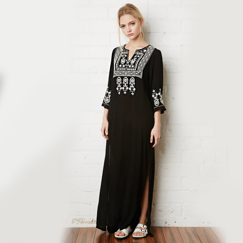 Khale Yose Floral Embroidery Dress V-Neck Black Vintage Maxi Dresses Cotton Holiday Boho Chic Ethnic Split Beach Women Clothing