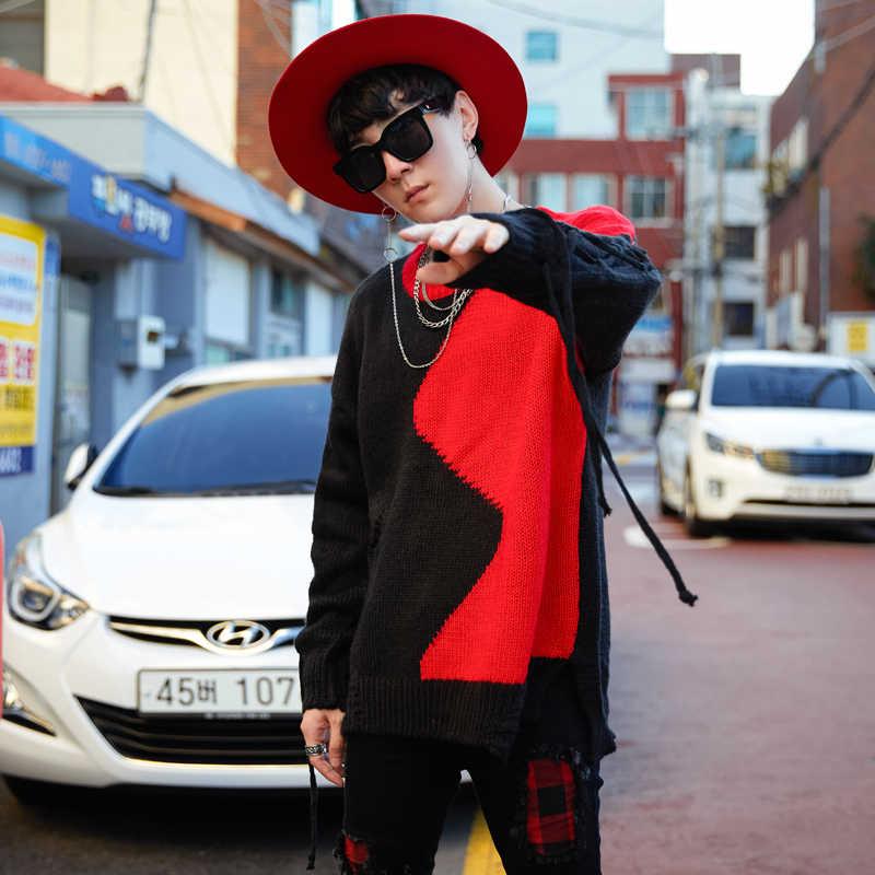 Người đàn ông Thời Trang Khi Đi Đường Hip Hop Chui Đầu Áo Len Nam Màu Sắc Giản Dị Ghép Dệt Kim Áo Len Nam Mùa Thu Mùa Đông Lỗ Rỗng Áo Len