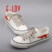 E LOV New 2017 Summer Graffiti Canvas Shoes Flat Hand Painted Cartoon Women Shoes White Size