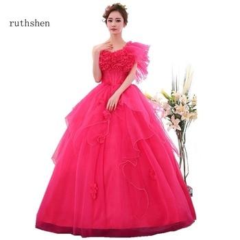 12470d72d06 Ruthshen Ruffles Quinceanera vestidos un hombro Debutante vestido con  cuentas flores dulce 16 mascarada vestidos de bola de lujo 2018