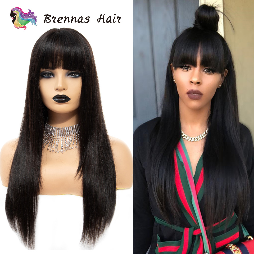 Pre plucked lace front human hair wigs Brazilian Remy hair Straight lace wig with bangs natural black color for women-in Human Hair Lace Wigs from Hair Extensions & Wigs    1