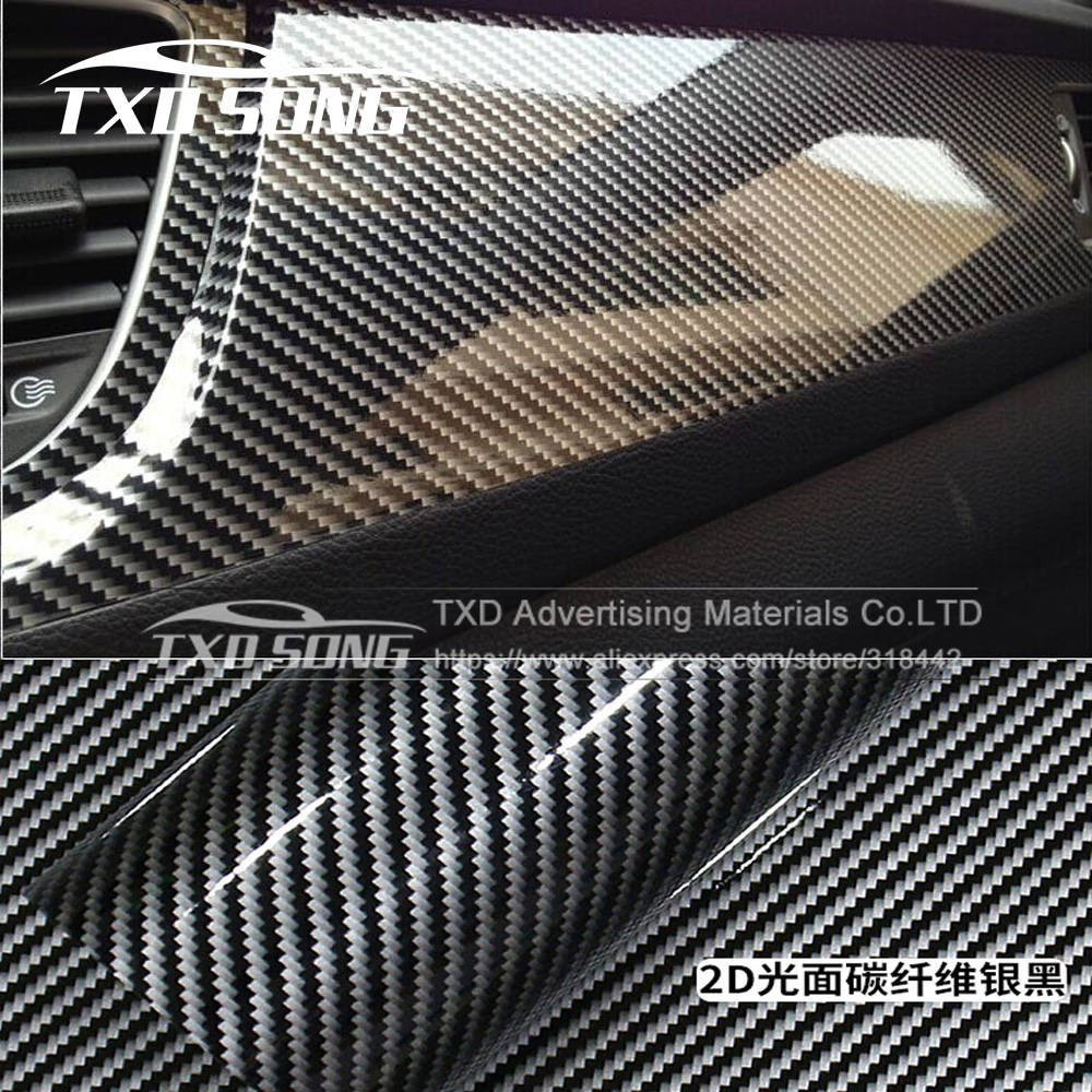 Aliexpress Com Buy 2d Car Sticker Glossy Carbon Fiber