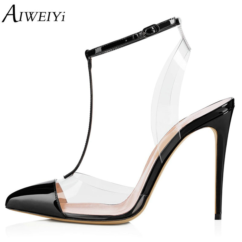AIWEIYi Sexy High Heel Sandals Pointed Toe Slingback Dress Heels Transparent PVC Stiletto Platform Pumps Black Red Party Shoes aiweiyi 2018 summer women shoes pointed toe stiletto high heel pumps dress shoes high heels gold transparent pvc shoes woman