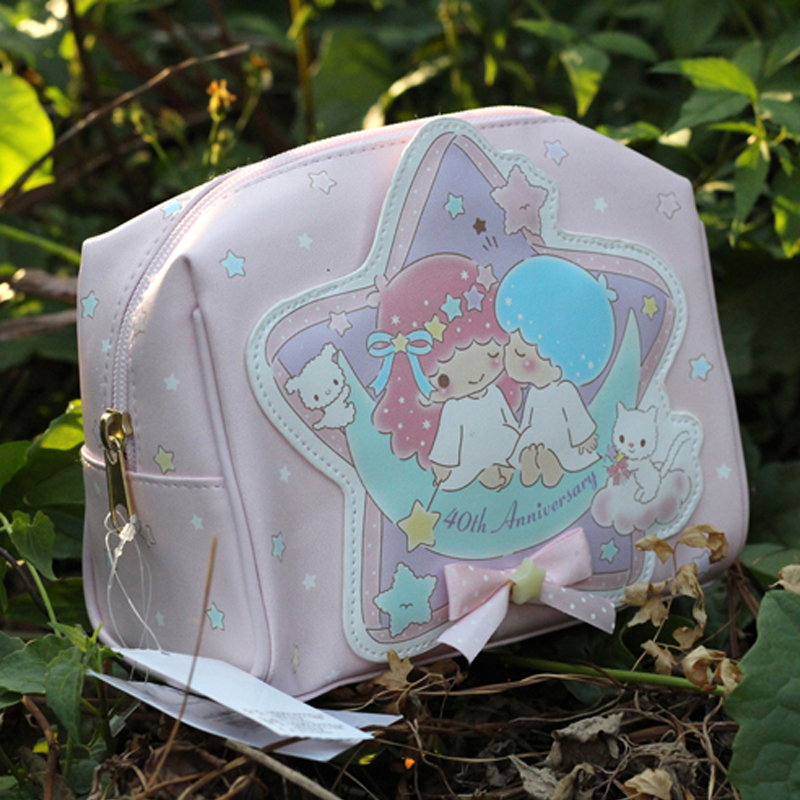 Kawaii japonés binario star mujeres bolsa de maquillaje bolsa de lolita dulce ni