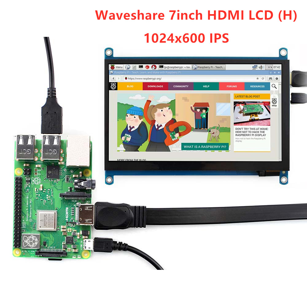 Waveshare 7 inch HDMI LCD H Tablet Monitor 1024x600 IPS Capacitive Touch Screen Supports Raspberry Pi