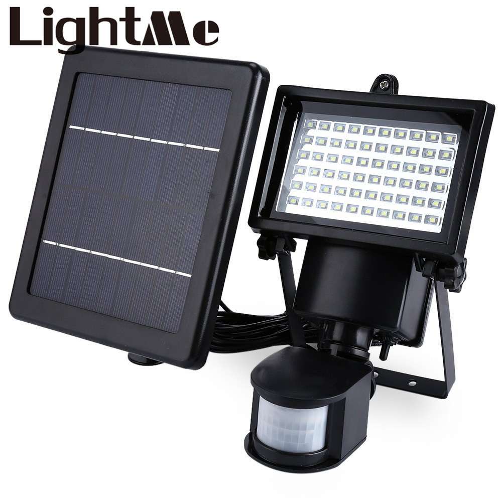 New Arrival Natural White Outdoor Light SL - 60 LED Super Bright Waterproof Solar Powered PIR Motion Detector Door Wall Lamp super bright 100 led natural white outdoor floodlight pir motion sensor led solar powered light lamp waterproof solar wall lamp