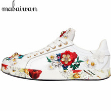 Embroidery Women Casual White Flat Shoes Fashion Genuine Leather Platform Creppers Flats Espadrilles Zapatillas Deportivas