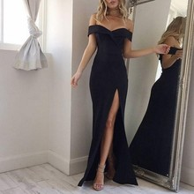 Oioninos Fashion Summer Dresses Strapless Solid Sexy Long  Party Wear Dress Women Pink Black Colors Vestidos